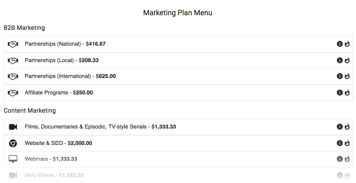 Marketing Plan Menu